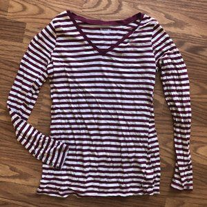 Red & White Stripped Long Sleeved Maternity Shirt